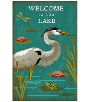 Custom Welcome to the Lake Heron Bird Vintage Style Wooden Sign