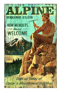Custom Alpine Hiking Club Rockies Vintage Style Wooden Sign