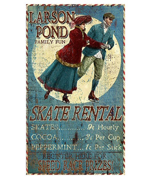 Custom Larson Pond Ice Skate Rental Vintage Style Wooden Sign