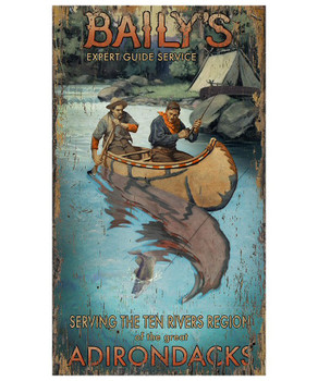 Custom Baily's River Guide Vintage Style Wooden Sign