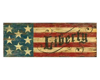 Custom Red White & Blue Liberty Flag Vintage Style Wooden Sign