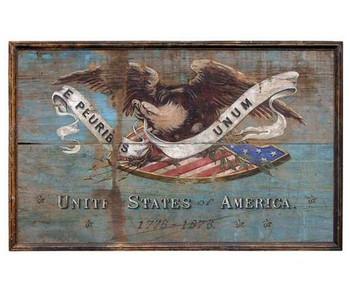 Custom Bald Eagle on USA Shield Vintage Style Wooden Sign