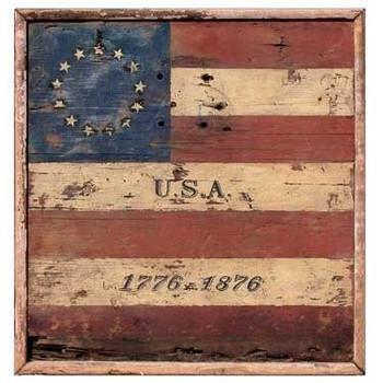 Custom Centennial USA Flag Vintage Style Wooden Sign