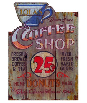 Custom Lolas Coffee Shop Vintage Style Wooden Sign
