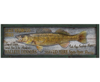 Custom Lake Wamego Diner Walleye Dinners Vintage Style Wooden Sign