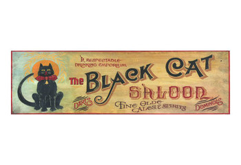Custom Black Cat Saloon Vintage Style Wooden Sign
