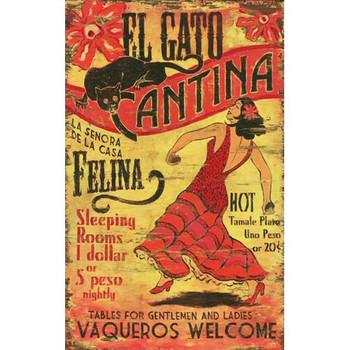 Custom El Gato Cantina Vintage Style Wooden Sign