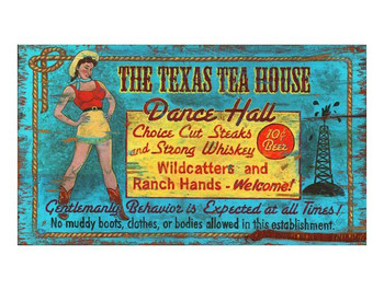 Custom The Texas Tea House Dance Hall Vintage Style Wooden Sign