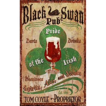 Custom Black Swan Irish Pub Vintage Style Wooden Sign