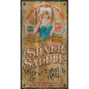 Custom Silver Saddle Saloon and Dance Hall Vintage Style Wooden Sign