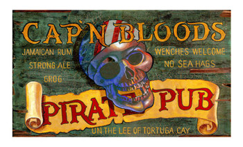 Custom Pirate Pub Vintage Style Wooden Sign