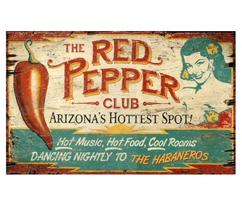 Custom The Red Pepper Club Vintage Style Wooden Sign