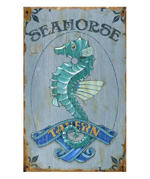 Custom Seahorse Tavern Vintage Style Wooden Sign