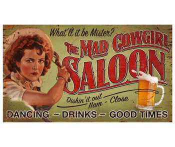Custom The Mad Cowgirl Saloon Vintage Style Wooden Sign