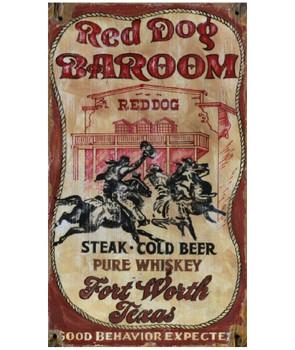 Custom Red Dog Barroom Vintage Style Wooden Sign