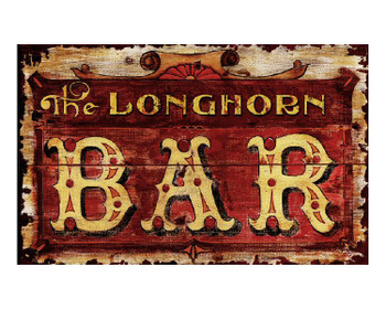 Custom Longhorn Bar Vintage Style Wooden Sign