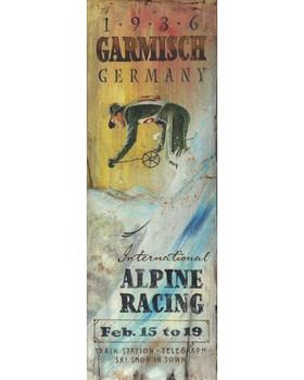 Custom International Alpine Skiing Vintage Style Wooden Sign