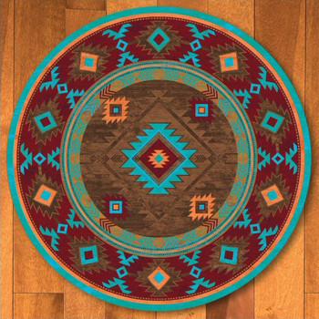 8' Whisky River Turquoise Southwest Round Rug