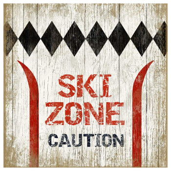 Custom Ski Zone Caution Vintage Style Wooden Sign