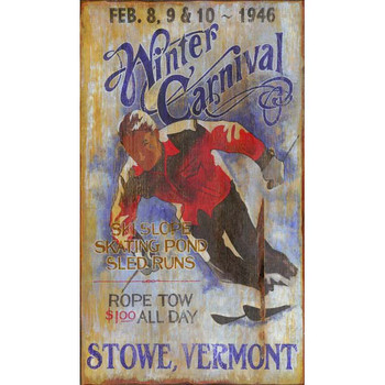 Custom Winter Carnival Ski Stowe Vermont Vintage Style Wooden Sign