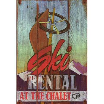 Custom Ski Rental at the Chalet Vintage Style Wooden Sign