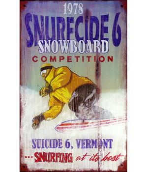 Custom Snurfcide 6 Snowboard Competition Vintage Style Wooden Sign