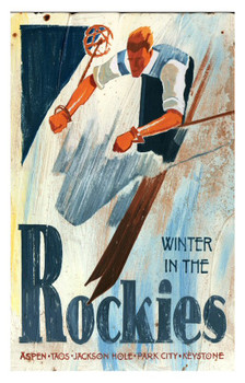 Custom Winter in the Rockies Skiing Vintage Style Wooden Sign