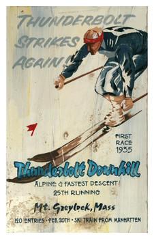 Custom Thunderbolt Downhill Skiing Vintage Style Wooden Sign