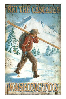 Custom Cross Country Ski the Cascades Vintage Style Wooden Sign