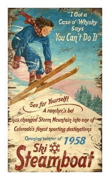 Custom Ski Steamboat Vintage Style Wooden Sign