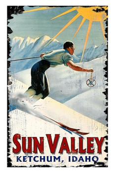 Custom Sun Valley Skiing Vintage Style Wooden Sign