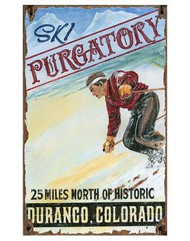 Custom Ski Purgatory Skiing Vintage Style Wooden Sign