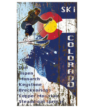 Custom Ski Colorado Flag Skiing Vintage Style Wooden Sign