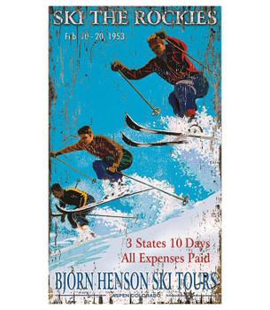 Custom Henson's Ski The Rockies Skiing Vintage Style Wooden Sign