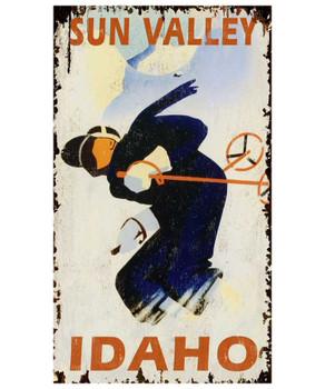 Custom Sun Valley Idaho Skiing Vintage Style Wooden Sign
