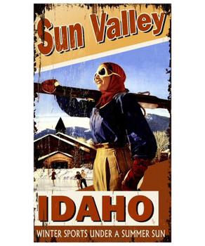 Custom Sun Valley Idaho Skiing Woman Vintage Style Wooden Sign