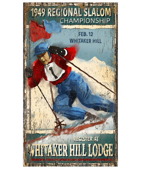 Custom Slalom Skiing Vintage Style Wooden Sign