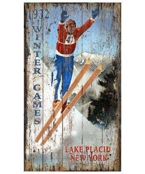 Custom Lake Placid Ski Jumper Vintage Style Wooden Sign