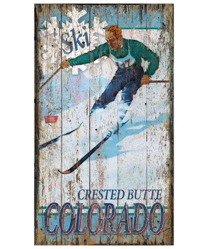 Custom Crested Butte Colorado Skiing Vintage Style Wooden Sign