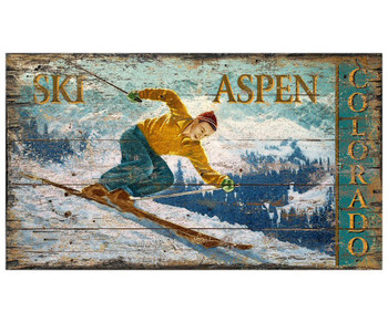 Custom Ski Aspen Colorado Skiing Vintage Style Wooden Sign
