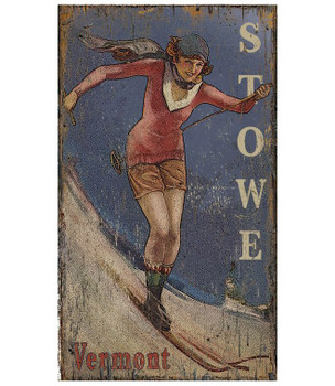 Custom Stowe Vermont Classic Skiing Vintage Style Wooden Sign