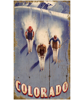 Custom Triple Downhill Skiing Vintage Style Wooden Sign