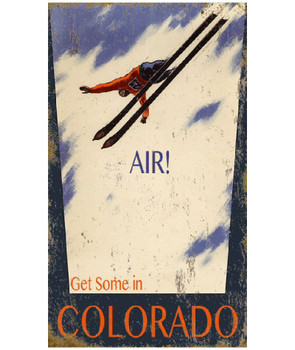 Custom Get Some Air in Colorado Skiing Vintage Style Wooden Sign