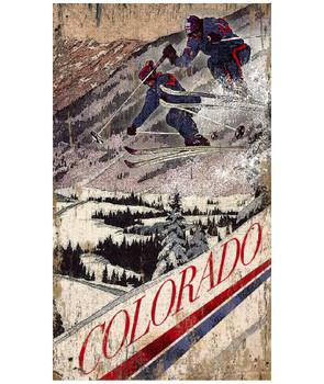 Custom Flying Pair Skiing in Colorado Vintage Style Wooden Sign