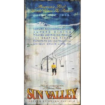 Custom Sun Valley Ski Resort Vintage Style Wooden Sign