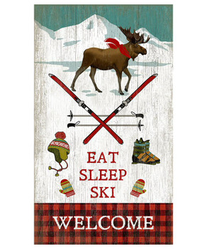 Custom Moose Eat Sleep Ski Welcome Vintage Style Wooden Sign