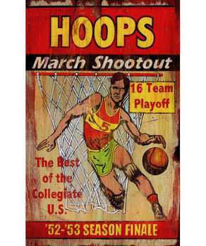 Custom Hoops March Shootout Vintage Style Wooden Sign