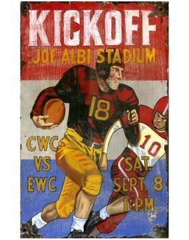 Custom Kickoff Football Vintage Style Wooden Sign