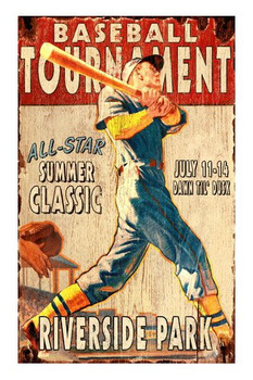 Custom Baseball Tournament Vintage Style Wooden Sign
