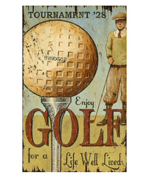 Custom Enjoy Golf Vintage Style Wooden Sign
